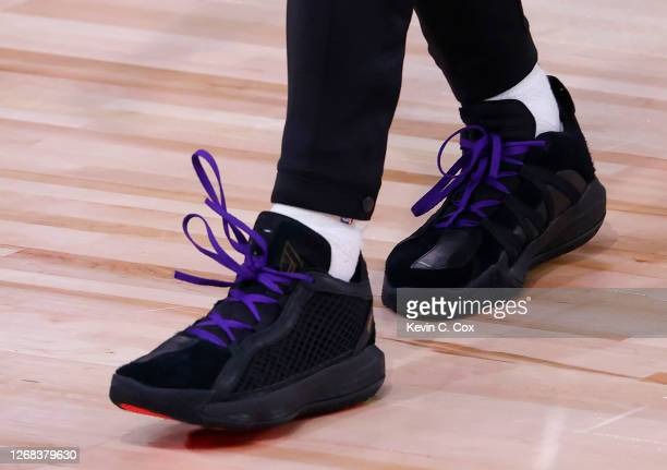 Shoes with and to honor Kobe Bryant are worn by Damian Lillard of the Portland Trail Blazers against the Los Angeles Lakers in Game Four of the...