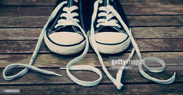 shoes with laces - pair stock pictures, royalty-free photos & images
