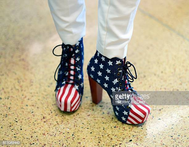Shoes worn by a delegate on the first day of the Republican National Convention on July 18 2016 at the Quicken Loans Arena in Cleveland Ohio The...