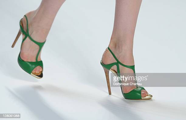 Shoes worn by a model as she walks the runway during the Elie Saab Ready to Wear Spring / Summer 2012 show during Paris Fashion Week at Espace...