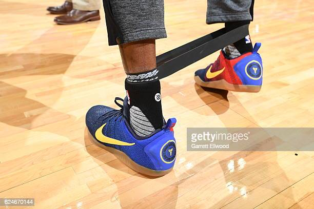 Shoes worn by Andre Iguodala of the Golden State Warriors before the game against the Denver Nuggets on November 10 2016 at the Pepsi Center in...
