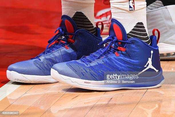 Shoes worn by Blake Griffin of the Los Angeles Clippers during the game against the Portland Trail Blazers on December 12 2016 at STAPLES Center in...