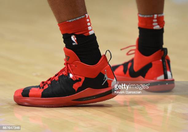 Shoes worn by Chris Paul of the Houston Rockets before taking on Los Angeles Lakers at Staples Center December 3 in Los Angeles California NOTE TO...