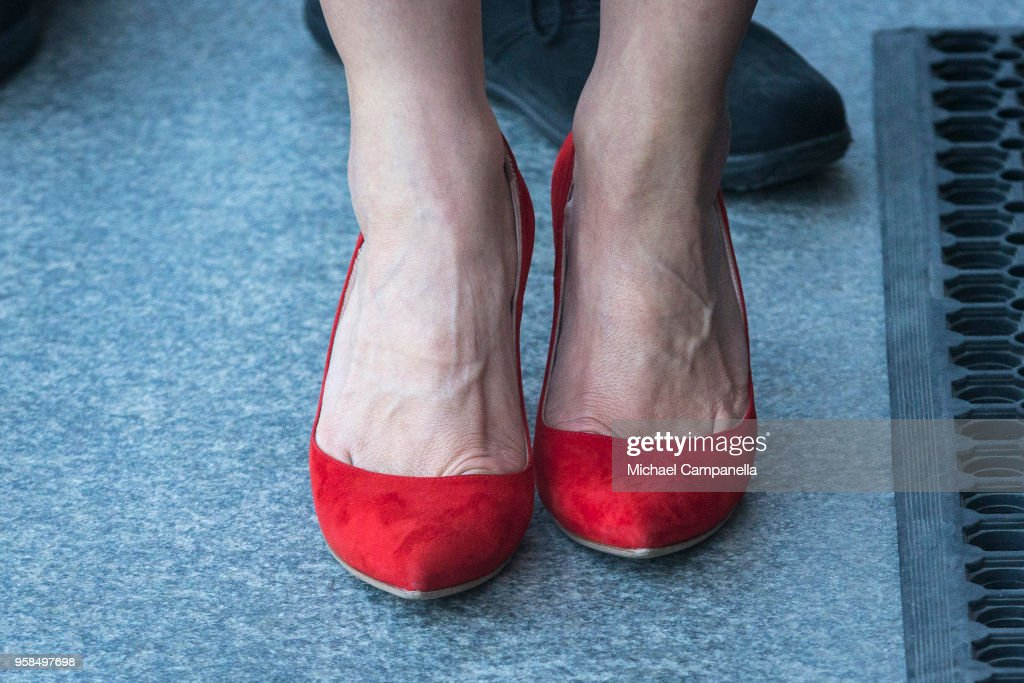 Shoes worn by Crown Princess Victoria of Sweden while attending the Nordic Museum and Skansen's Friends annual meeting in commemoration of their 100th anniversary at the Nordic Museum on May 14, 2018 in Stockholm, Sweden.