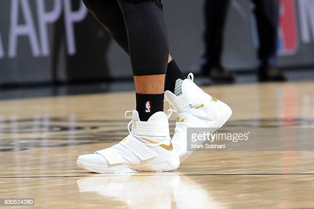 Shoes worn by Danny Green of the San Antonio Spurs during the game against the Chicago Bulls on December 25 2016 at the ATT Center in San Antonio...