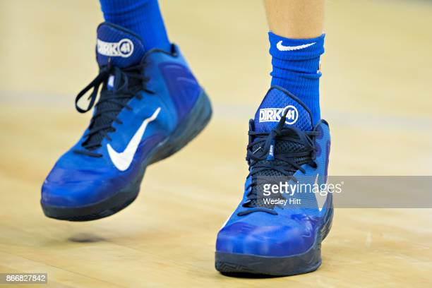 Shoes worn by Dirk Nowitzki of the Dallas Mavericks while warming up before a game against the Memphis Grizzlies at the FedEx Forum on October 26...