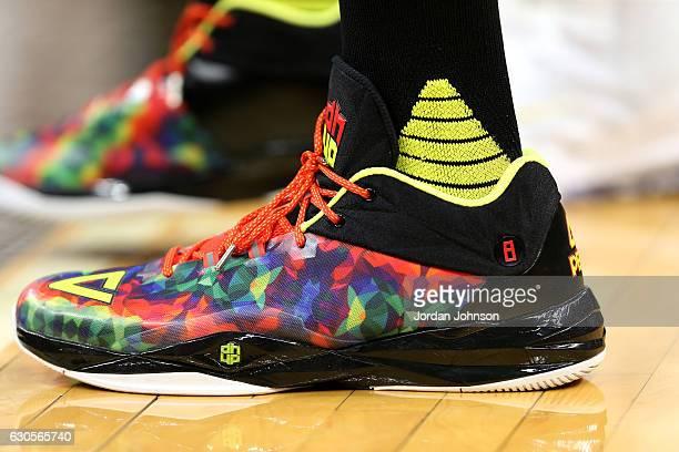 Shoes worn by Dwight Howard of the Atlanta Hawks during the game against the Minnesota Timberwolves on December 26 2016 at Target Center in...
