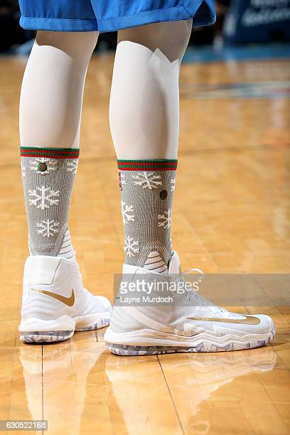 Shoes worn by Enes Kanter of the Oklahoma City Thunder during the game against the Minnesota Timberwolves on December 25 2016 at Chesapeake Energy...