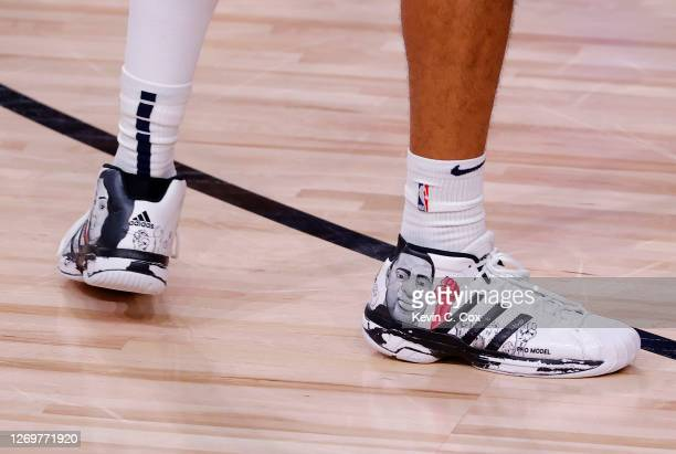 Shoes worn by Jamal Murray of the Denver Nuggets against the Utah Jazz during the second quarter in Game Six of the Western Conference First Round...