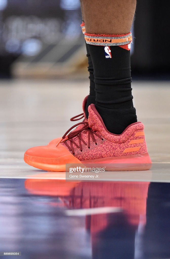 Shoes worn by James Harden #13 of the Houston Rockets during their game against the Utah Jazz at Vivint Smart Home Arena on December 7, 2017 in Salt Lake City, Utah.