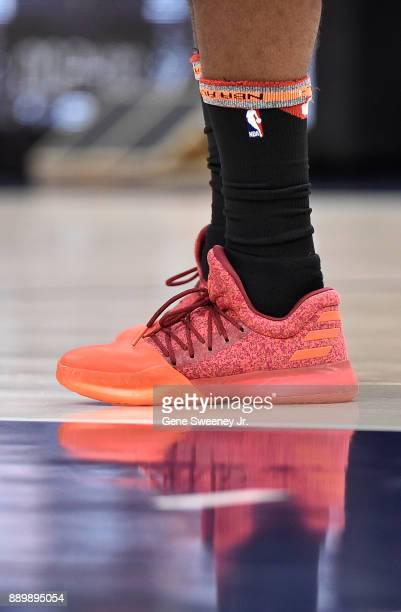 Shoes worn by James Harden of the Houston Rockets during their game against the Utah Jazz at Vivint Smart Home Arena on December 7 2017 in Salt Lake...