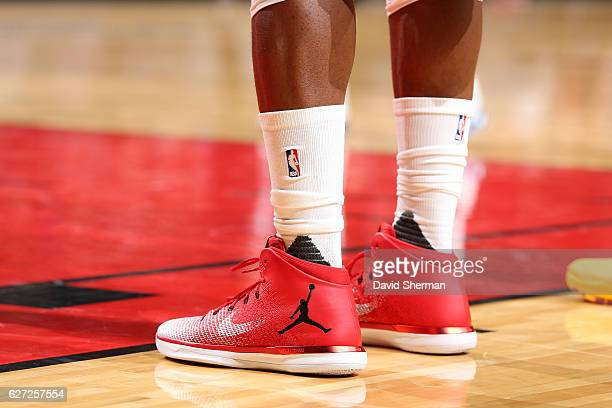 Shoes worn by Jimmy Butler of the Chicago Bulls during the game against the Cleveland Cavaliers on December 2 2016 at the United Center in Chicago...