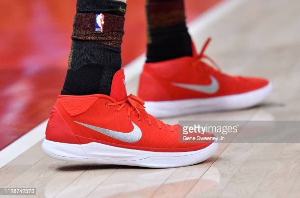 Shoes worn by Joe Ingles of the Utah Jazz in a NBA game against the San Antonio Spurs at Vivint Smart Home Arena on February 09 2019 in Salt Lake...