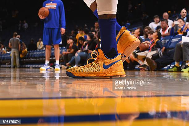 Shoes worn by Kevin Durant of the Golden State Warriors before the game against the Dallas Mavericks on November 9 2016 at ORACLE Arena in Oakland...