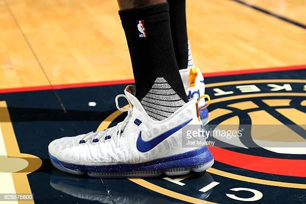 Shoes worn by Kevin Durant of the Golden State Warriors during the game against the New Orleans Pelicans on December 13 2016 at the Smoothie King...