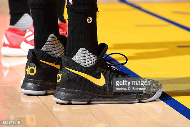 Shoes worn by Kevin Durant of the Golden State Warriors during the game against the Portland Trail Blazers on December 17 2016 in Oakland California...