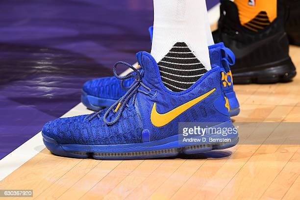 Shoes worn by Kevin Durant of the Golden State Warriors during the game against the Los Angeles Lakers on November 25 2016 at STAPLES Center in Los...