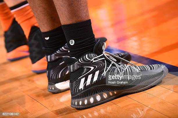 Shoes worn by Kevon Looney of the Golden State Warriors during the game against the Phoenix Suns on October 30 2016 at Talking Stick Resort Arena in...