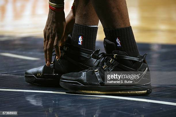 Shoes worn by LeBron James of the Cleveland Cavaliers during the game against the New Jersey Nets on April 8 2006 at the Continental Airlines Arena...