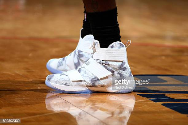 Shoes worn by LeBron James of the Cleveland Cavaliers during the game against the Washington Wizards on November 11 2016 at Verizon Center in...