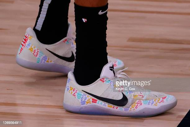 Shoes worn by Markelle Fultz of the Orlando Magic against the Milwaukee Bucks during the third quarter in Game Five of the Eastern Conference First...