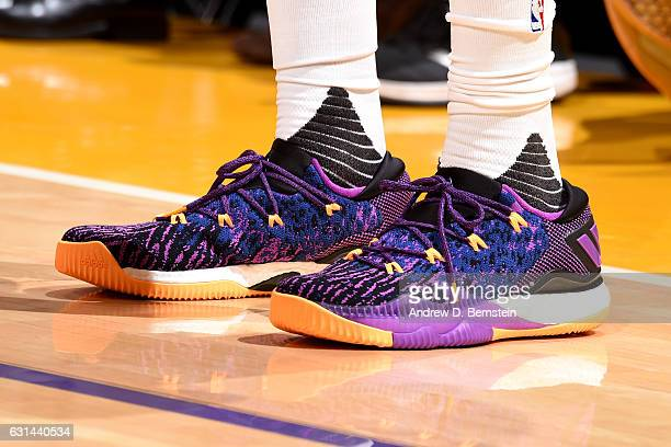 Shoes worn by Nick Young of the Los Angeles Lakers during the game against the Portland Trail Blazers on January 10 2017 at STAPLES Center in Los...