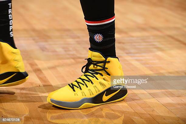 Shoes worn by Nikola Jokic of the Denver Nuggets during the game against the Golden State Warriors on November 10 2016 at the Pepsi Center in Denver...