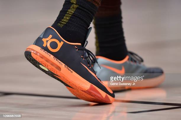 Shoes worn by Royce O'Neale of the Utah Jazz in the second half of a NBA game against the San Antonio Spurs at Vivint Smart Home Arena on February 09...
