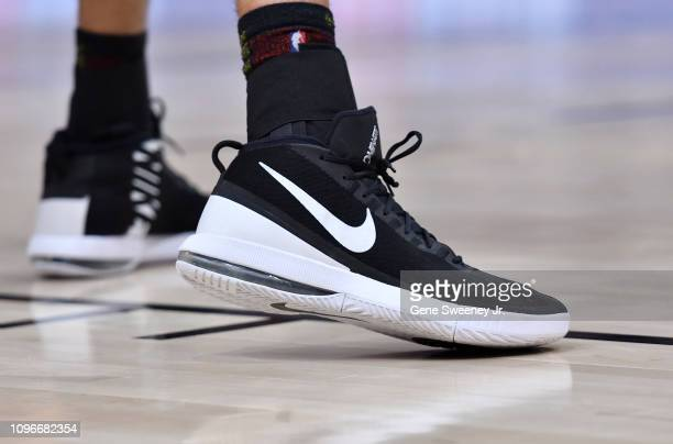 Shoes worn by Rudy Gobert of the Utah Jazz in the second half of a NBA game against the San Antonio Spurs at Vivint Smart Home Arena on February 09...