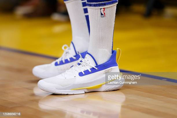 Shoes worn by Stephen Curry of the Golden State Warriors as he warms up before the game against the Houston Rockets at Chase Center on February 20,...