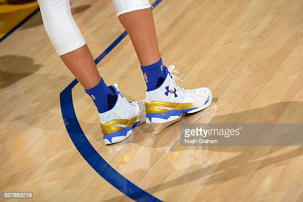 Shoes worn by Stephen Curry of the Golden State Warriors before the game against the Cleveland Cavaliers in Game One of the 2016 NBA Finals on June 2...