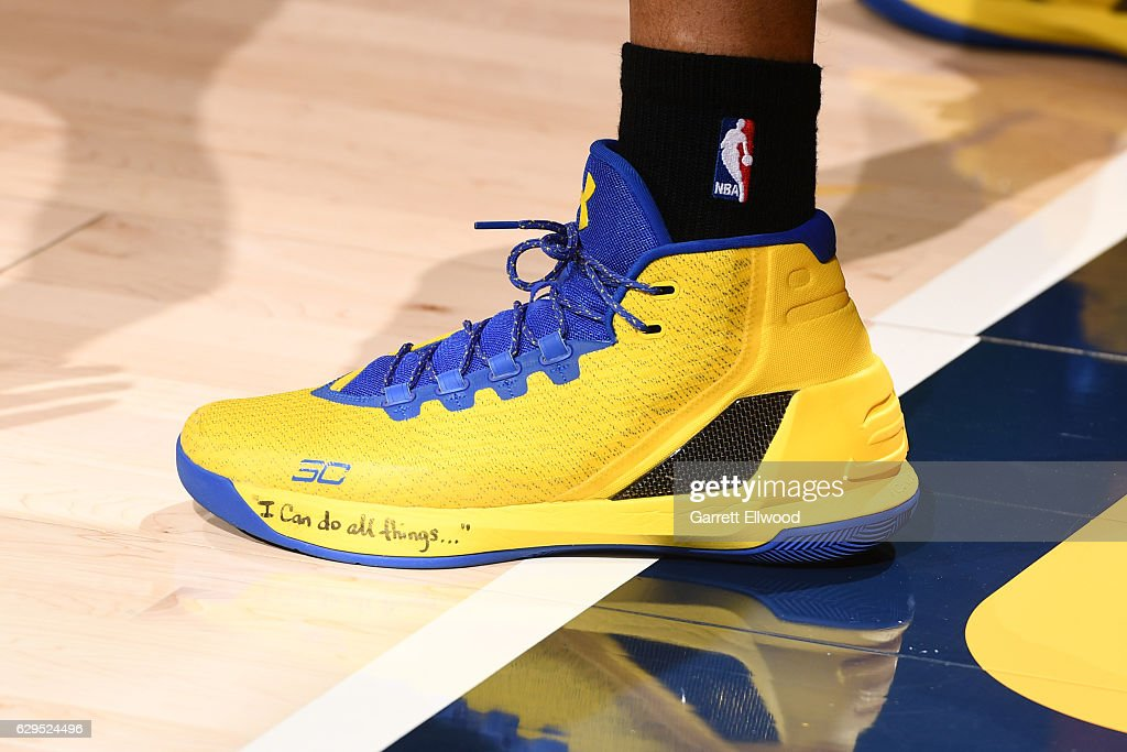 Shoes Worn By Stephen Curry Of The Golden State Warriors During The