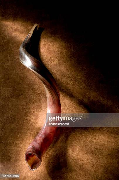 Shofar with shadow, brown background and a glow of light.