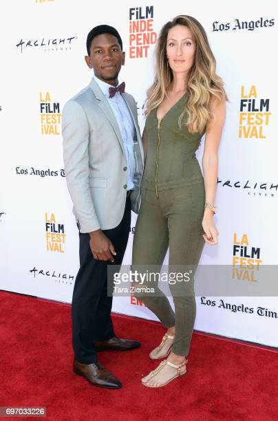 Shofela Coker and guest attend the 'Liyana' Premiere during the 2017 Los Angeles Film Festival at Arclight Cinemas Culver City on June 17 2017 in...