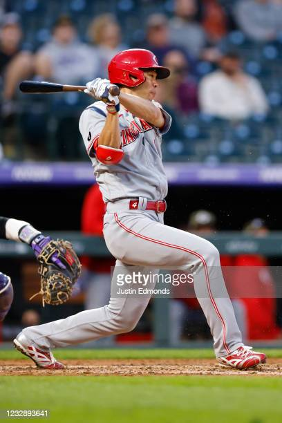 Shogo Akiyama of the Cincinnati Reds grounds out in the fourth inning against the Colorado Rockies at Coors Field on May 14, 2021 in Denver, Colorado.