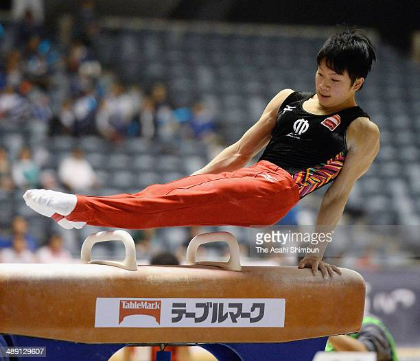Shogo Nonomura competes in the pommel horse during day one of the All Japan Artistic Gymnastics Individual All Around Championships at Yoyogi...