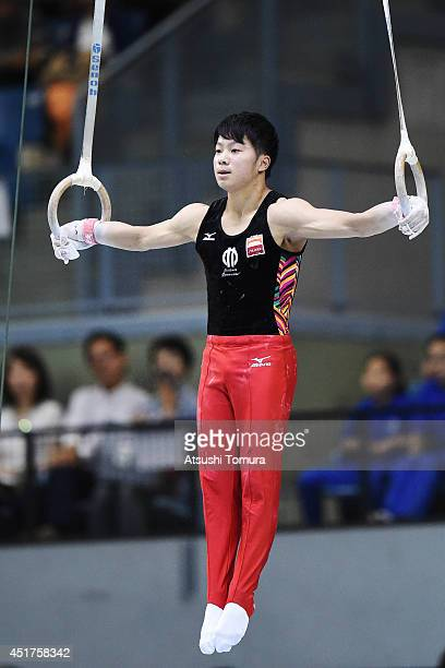 Shogo Nonomura of Japan competes on the Rings during the 68th All Japan Gymnastics Apparatus Championships on July 6 2014 in Chiba Japan
