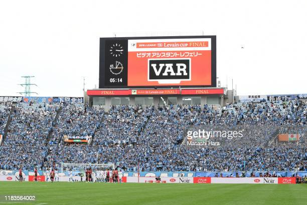 Shogo Taniguchi of Kawasaki Frontale is shown red card by VAR during the J.League Levain Cup Final between Consadole Sapporo and Kawasaki Frontale at...