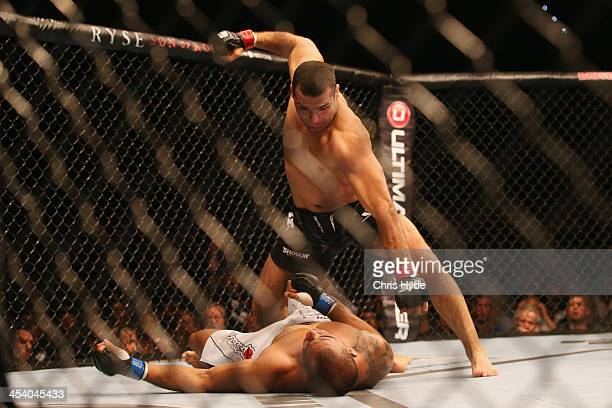 Shogun Rua of Brazil knocks out James Te Huna of Australia to win their heavyweight fight during the UFC Fight Night at the Brisbane Entertainment...