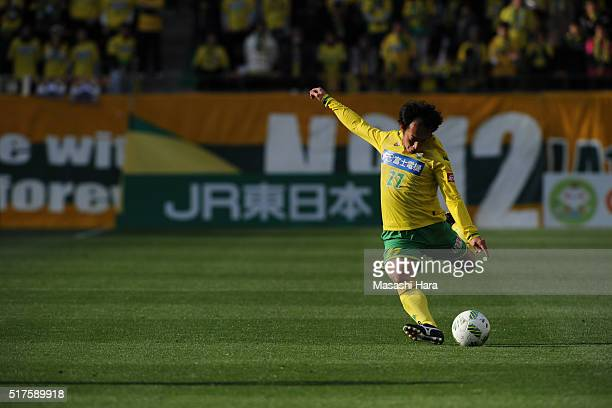 Shohei Abe of JEF United Chiba in action during the JLeague second division match between JEF United Chiba and Thespa Kusatsu Gunma at the Fukuda...