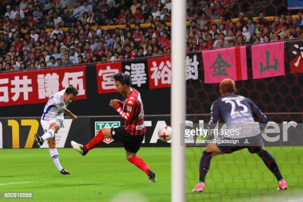 Shohei Abe of Ventforet Kofu scores his side's first goal to make it 11 during the JLeague J1 match between Consadole Sapporo and Ventforet Kofu at...