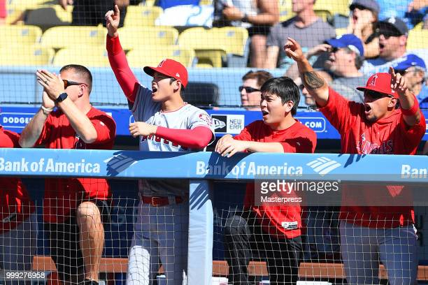Shohei Ohtani of the Los Angeles Angels of Anaheim reacts during the MLB game against the Los Angeles Dodgers at Dodger Stadium on July 14 2018 in...