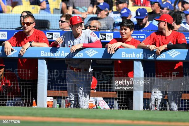 Shohei Ohtani of the Los Angeles Angels of Anaheim smiles during the MLB game against the Los Angeles Dodgers at Dodger Stadium on July 14 2018 in...