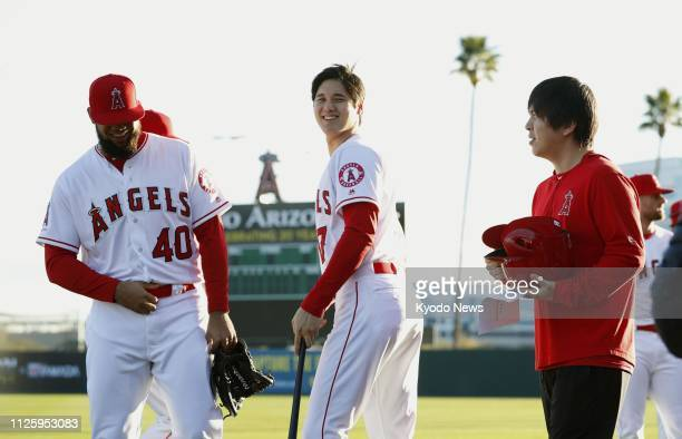 Shohei Ohtani and Luis Garcia both of the Los Angeles Angels smile during Photo Day on Feb 19 in Tempe Arizona ==Kyodo