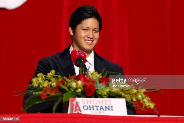 Shohei Ohtani is introduced to the Los Angeles Angels of Anaheim at Angel Stadium of Anaheim on December 9 2017 in Anaheim California