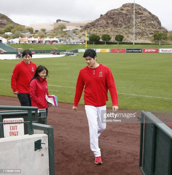 Shohei Ohtani leaves the field after speaking to reporters at the Los Angeles Angels' spring training facility in Tempe Arizona on Feb 21 2019 ==Kyodo