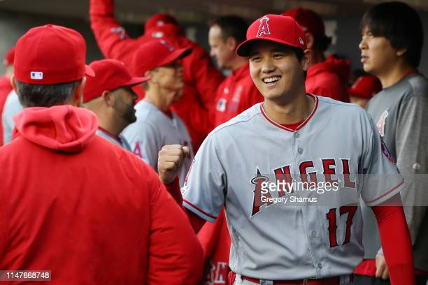 Shohei Ohtani Los Angeles Angels gets ready in the dugout prior to playing the Detroit Tigers on May 07, 2019 in Detroit, Michigan.