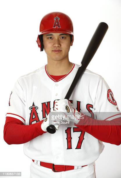 Shohei Ohtani of Japan poses for a portrait during Los Angeles Angels of Anaheim photo day on February 19 2019 in Tempe Arizona