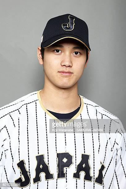 Shohei Ohtani of Japan poses for photographs during the Japan national baseball team portrait session on November 5 2016 in Tokyo Japan