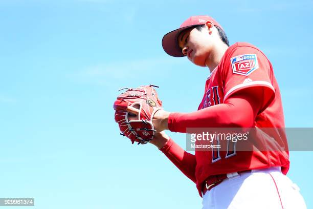 Shohei Ohtani of Los Angeles Angels is seen during the practice game against the Tijuana Toros of the Mexican League on March 9 2018 in Tempe Arizona